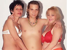 Eve and Eva are chunky mature women working together double teaming a younger guy
