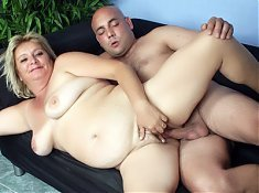 Fat mature wife Sussana shows us her big tits and spreading her legs for a cock